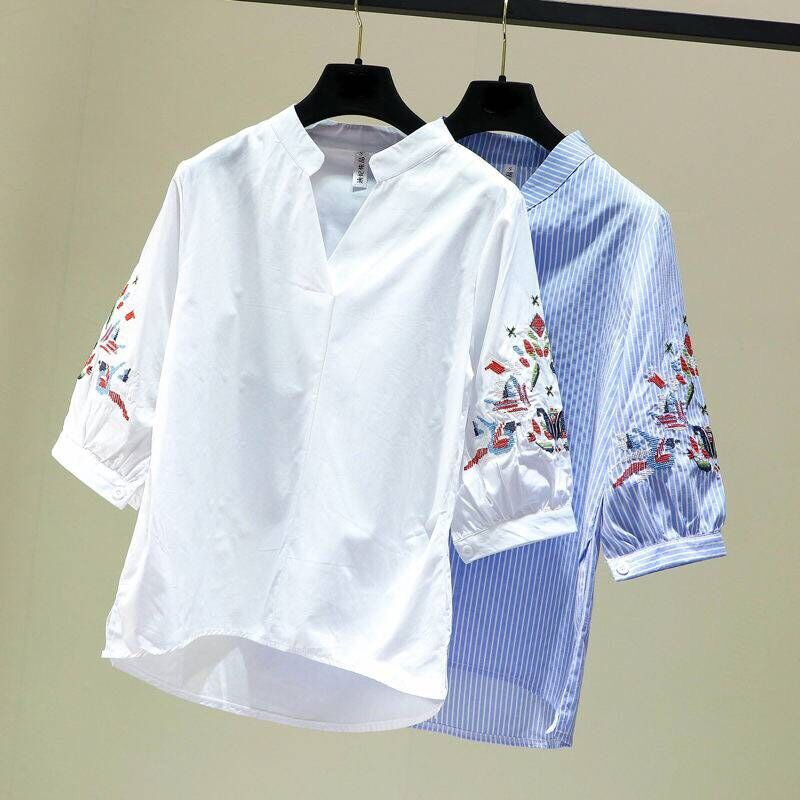 2019 Fashion Women Ethnic Style Embroidery Shirts Blouses Summer Style Casual Tops Chemise Femme Blusas|Blouses & Shirts| - AliExpress