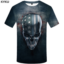 KYKU Skull T-shirt Men Gray Blood Tshirt Punk Rock Clothes Anime Usa Metal 3d Print T Shirt Hip Hop Casual Mens Clothing Summer