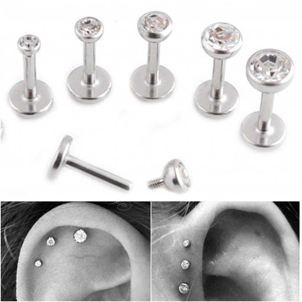 PAIR Surgical Steel Flat CZ Gem Ear Cartilage Tragus Helix Piercing Labret Lip Studs Ring Internally Thread 16g Body Jewelry