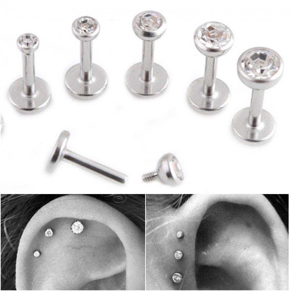 PAIR Surgical Steel Flat CZ Gem Ear Cartilage Tragus Helix Piercing Labret Lip Studs Ring Internally Thread 16g Body Jewelry