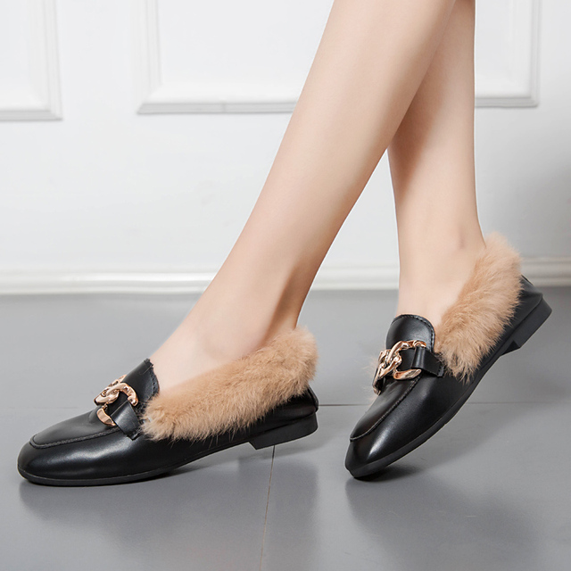f528003c84a5 Moxxy Autumn Genuine Leather Shoes Women Flat Shoes Suede Warm Plush Slip  On Low Heel Women Loafers Fur Slippers Casual Slides