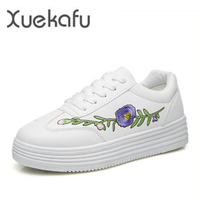 2017 Spring New Hot Sale White Shoes Woman Tenis Feminino Flat Platform Solid China Embroidery Casual