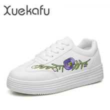 2017 Spring New Hot Sale White Shoes Woman Tenis Feminino Flat Platform Solid China Embroidery Casual Women Ladies Girl Shoes
