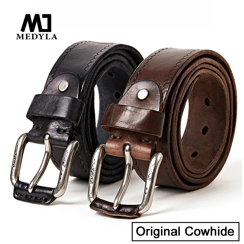 MEDYLA Men's belts Original cowhide Real Top Layer Genuine Leather Designer Belts Mens High Quality Soft Coffee Luxury Strap