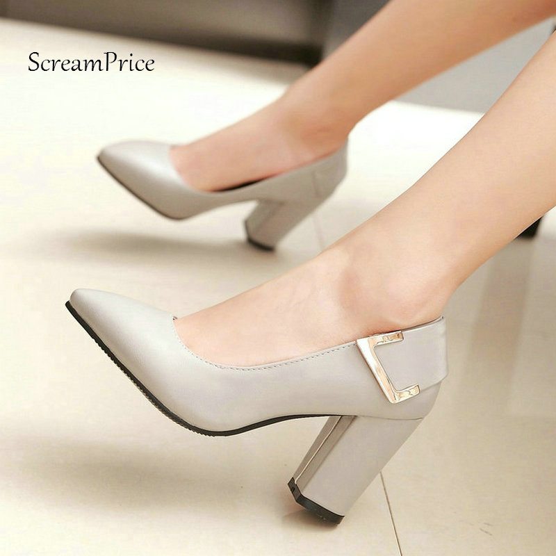The New Fashion Pointed Toe Dress Lazy High Heel Ladies Shoes Square High Heel Woman Pumps Black Blue Gray Beige