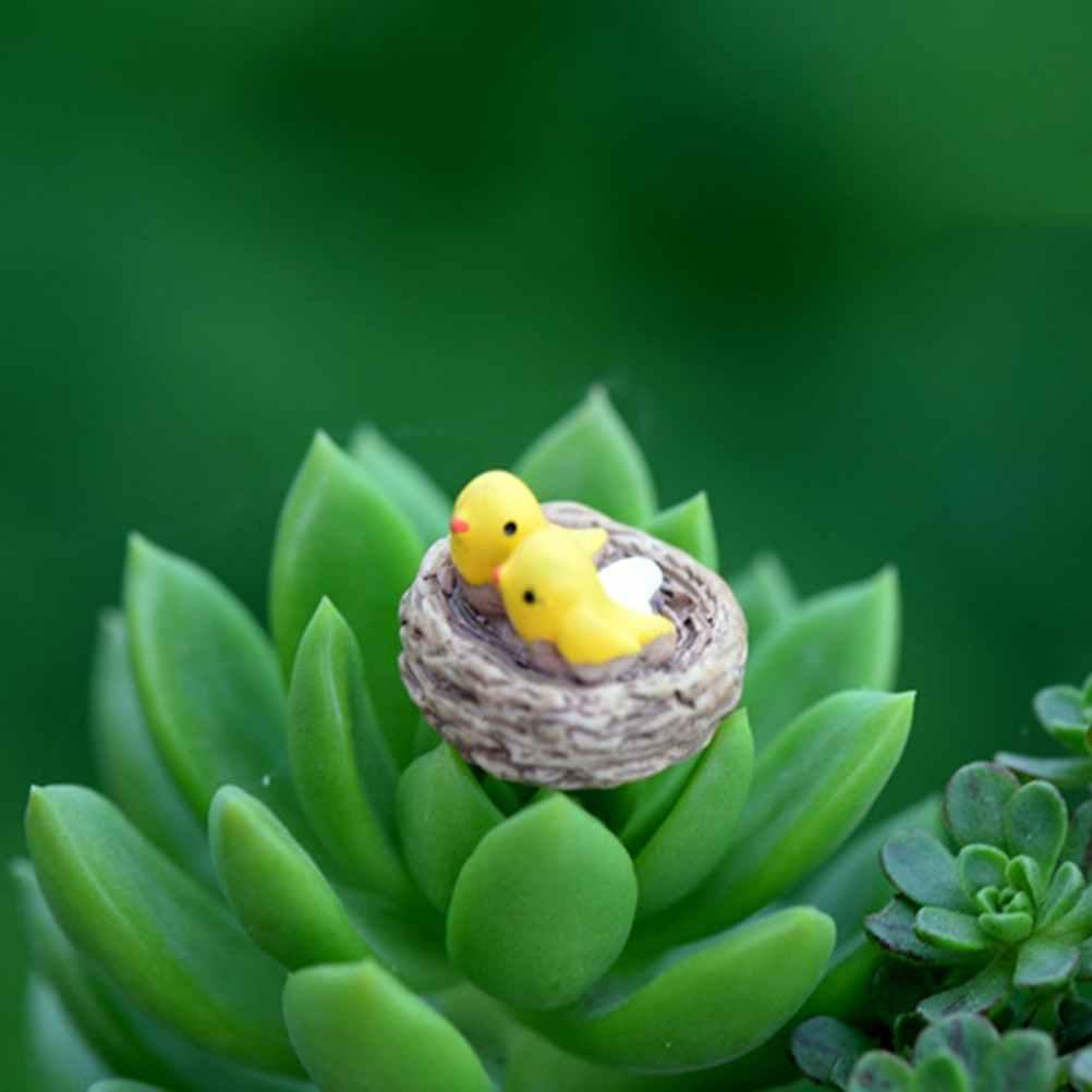 DIY Mini nido con pájaros, miniaturas de jardín de hadas, gnomos terrarios con musgo, figuras artesanales de resina para decoración del hogar