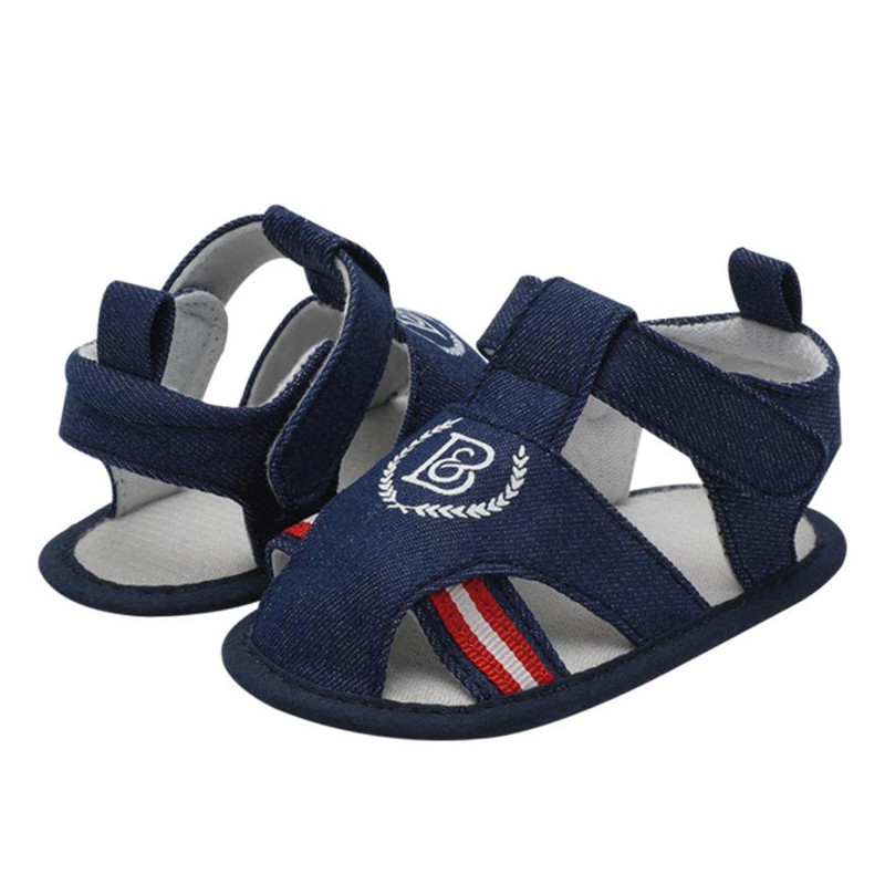 Infant Baby Boys Kids Roman Crib Shoes Soft Sole Anti-slip Star Sandals Shoes Flip Flops flat heels soft S23MAY11