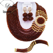 Laanc Fashion Crystal Beaded Brown African Beads Jewelry Set Nigerian Necklace Wedding Jewelry Sets DBPH007(China)