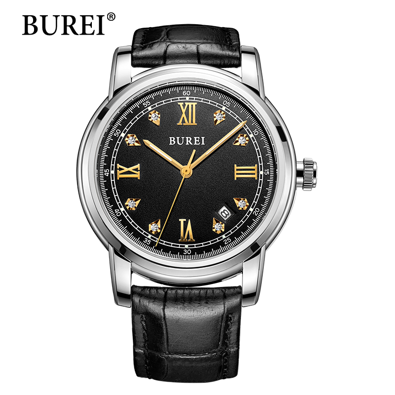 BUREI Men Watches New Top Fashion Brand Automatic Male Clock Leather Band Waterproof Sapphire Lens Mechanical Watch Hot Sale gnoth top brand men watch leather quartz analog hour fashion sapphire clock male waterproof wristwatch hot sale 2017 new arrival