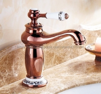 Bathroom Rose Gold Color Brass Basin Faucet Single Handle Bathroom Sink Faucet Cold and Hot Mixer Water Nnf502