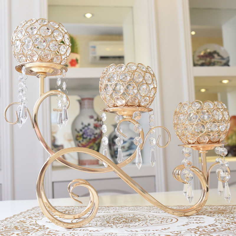 Creative alloy branches hanging crystal candlestick home