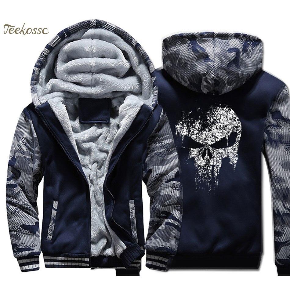 Skull Jacket Super Hero Hoodie Men Hip-Hop Sweatshirt Coat Winter Thick Fleece Warm Camouflage Swag Sportswear Mens
