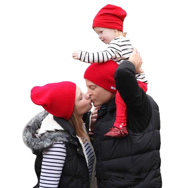 2018 теплые зимние шапки Beanies шерстяной вязаный Шапки для Для мужчин Для женщин «кроше» для маленьких девочек хлопок Hat 3 шт. мама папа и дети Се...