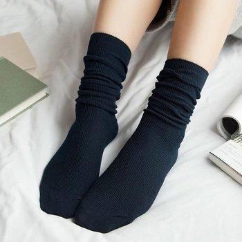 AMOZAE Japanese High School Girls High Socks Loose Solid Colors Double Needles Knitting Cotton Long Socks Women Socks Sox Meias