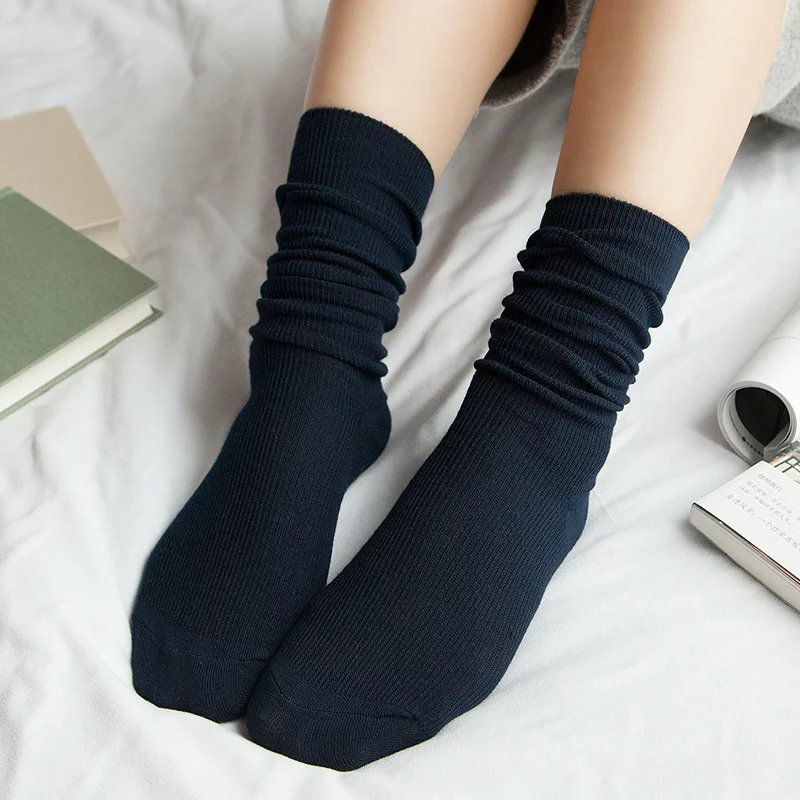 AMOZAE Japanese High School Girls High Socks Loose Solid Colors Double Needles Knitting Cotton Long Socks Women Socks Sox Meias
