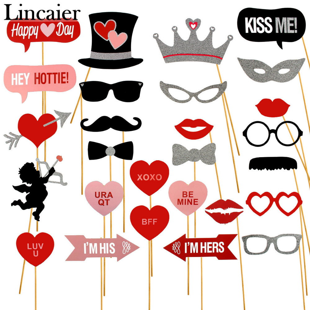 Lincaier 27 Pieces Cupid Wedding Photo Booth Props Table Decorations ...