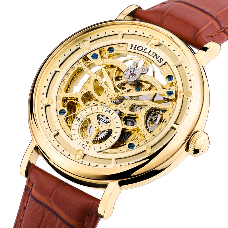 HOLUNS skeleton watch men sapphire material Genuine stainless steel waterproof leather strap Quartz watch relogio masculine holuns watch women sapphire glass white dial quartz waterproof multicolor red leather strap watch