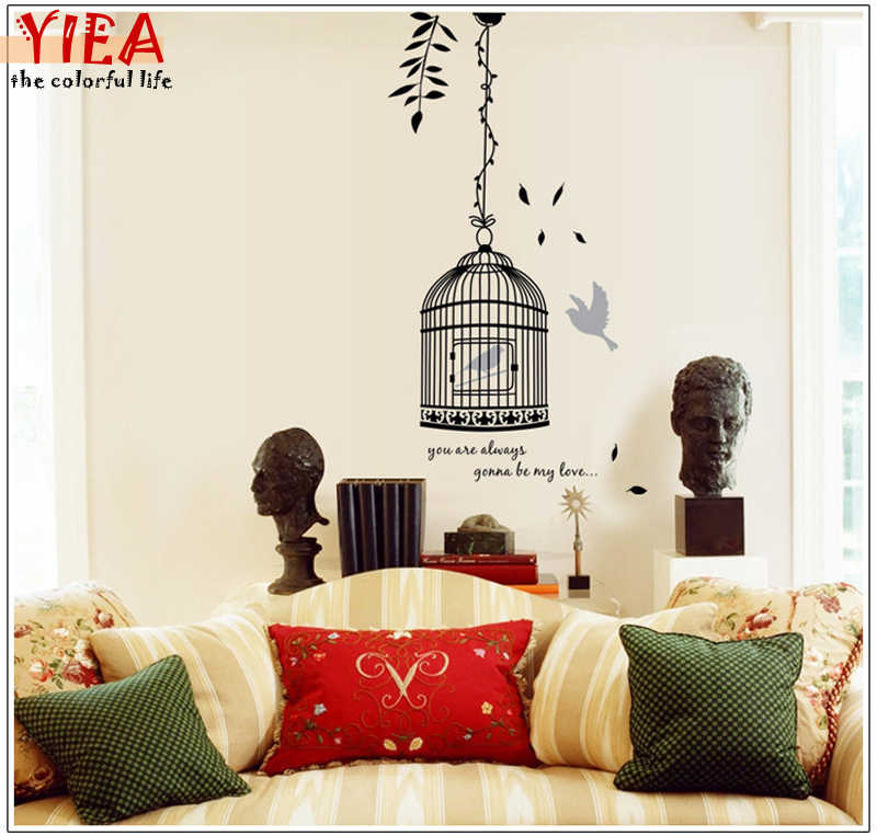 Removable Creative Black Birdcage Wall Stickers Adhesive Vinyl Birdcage Bird in A Cage Decoration Wall Stickers