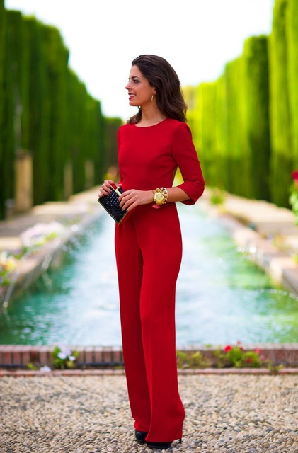 e36a80571f4 Plus Size Women Red Jumpsuit Backless Sexy Full Sleeve Rompers Womens  Jumpsuit Skinny Bodysuit Macaquinho