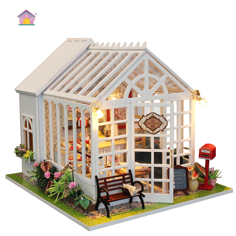 Hoomeda New arrival Miniature Wooden Doll House With DIY Furniture Fidget Toys For Kids Children Birthday Gift Coffee House M028 цена 2017