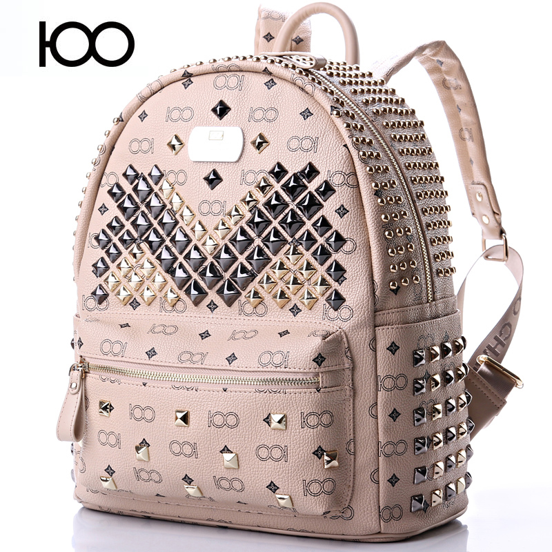 Starbags Puck Style Rivets Backpack Pu Leather School Bags For Men And Women Fashion Popular Teenagers Travel Bags Backpack