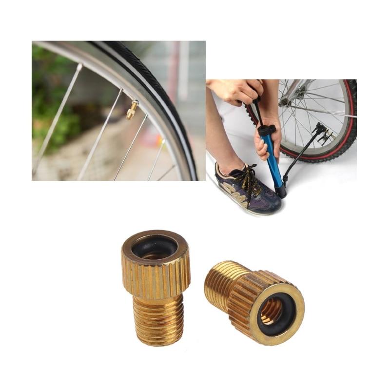 2pcs Presta to Car Bicycle Tube Cap pump connector Adapter Valve aluminium Alloy