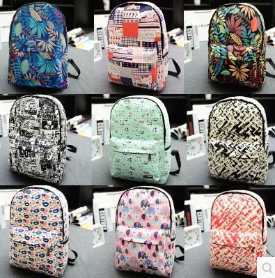 Online Shop 2015 New Design Canvas Printing Women Travel Backpacks ...
