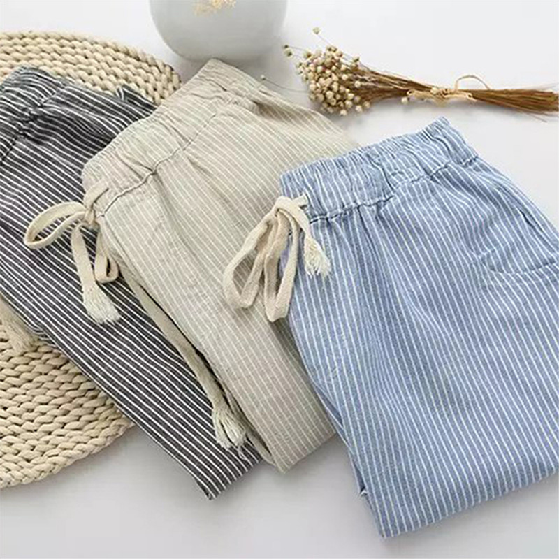 Cotton Linen Women Casual Pants Fashion Loose Long Pants Elastic Waist Straight Striped Trousers Pantalon