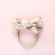цена на 1PCS Print Flower Bow Hair Band Nylon Headband For Children Girls Kid Stretch headbands Cute Headwear Hair Accessories Head Wrap