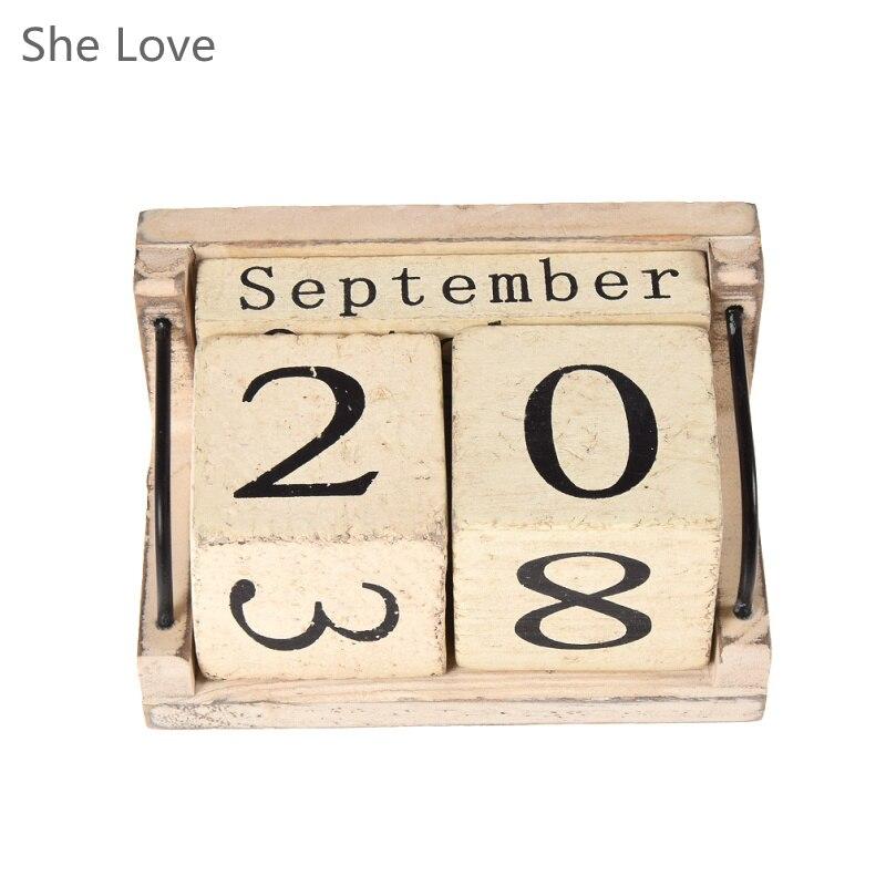 Винтаж дерево Календари меблировки статей небольшой стол DIY ежегодно планировщик календарь Гостиная Украшения ...