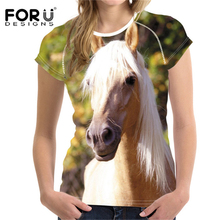 FORUDESIGNS T shirt Woman T-shirt O Neck Summer 3D Horse Hair t-shirt Oversize t women Feminist Casual Tops Girl Power XXL