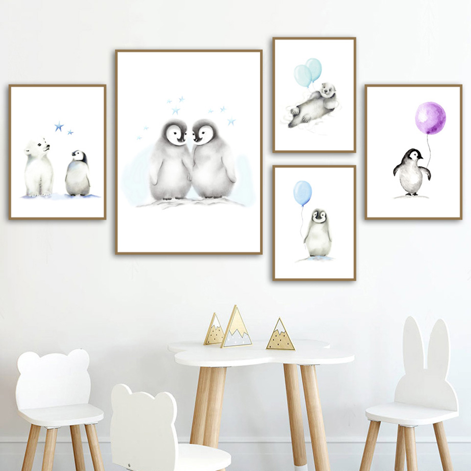 Home Decor Prints Penguin Balloon Painting Nordic Style
