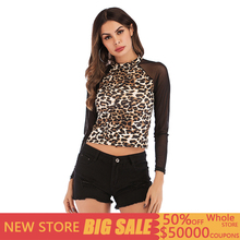 Sexy summer round neck transparent black mesh yarn stitching leopard shirt short paragraph navel long sleeve women's t-shirt