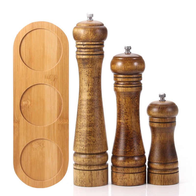 3 Pack деревянная мельница для соли и перца набор с поддоном