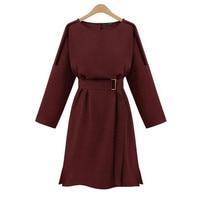 2017 New Elegant Slim Print A Words Solid Color Dress Pluse Size O Neck Brand Belts