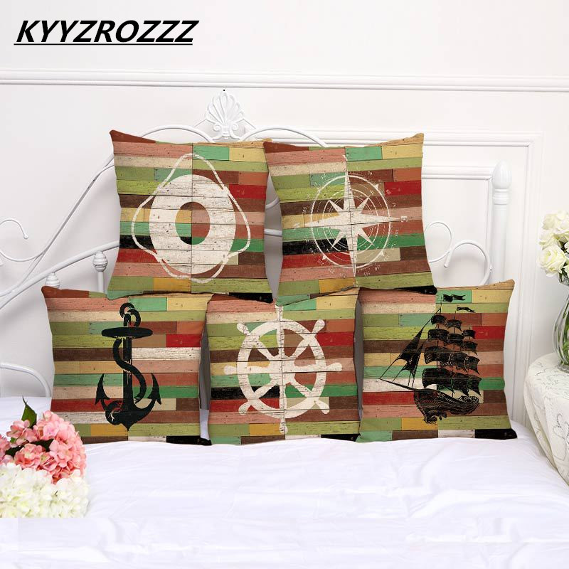 KYYZROZZZ Modern Home Decorative throw pillows Sea Sailing Cushion Cover Boat Anchor Cushion cover funda cojines travel 45x45cm
