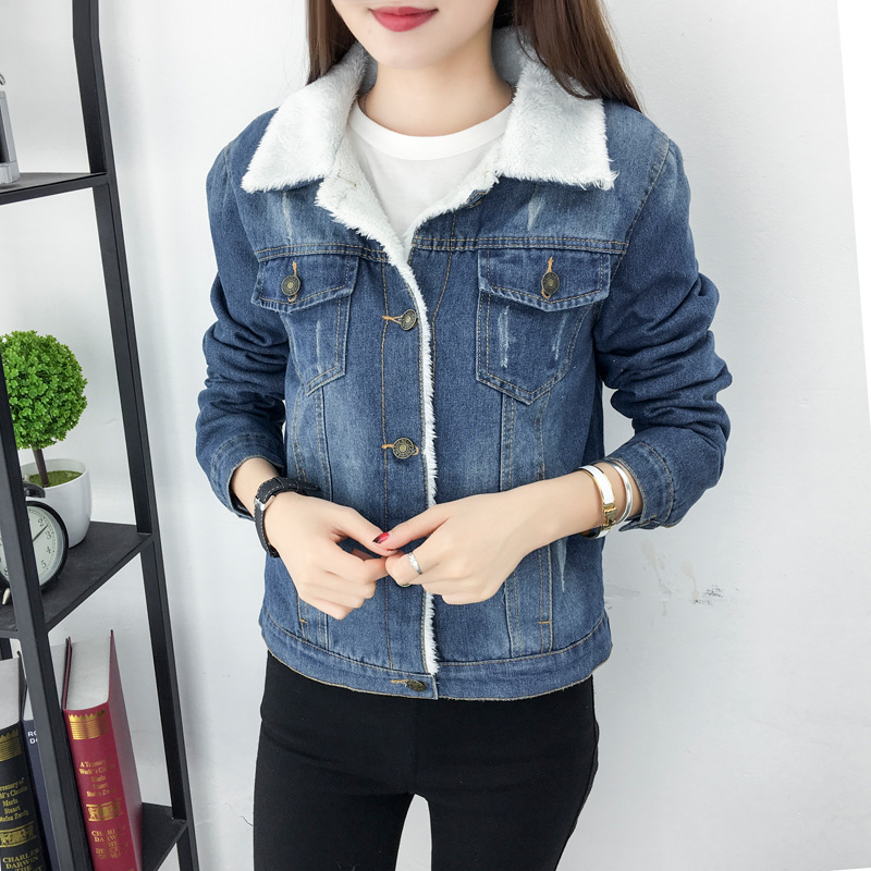 HTB1GYb0QwHqK1RjSZJnq6zNLpXaF 2019 New Women lambswool jean Coat Spring Autumn Winter Long Sleeves Warm Jeans Coat With 4 Pockets Outwear Wide Denim Jacket Y