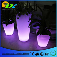 Big Plastic LED Flower Pot Light Color Changing Luminous Floor Pots Vase For Garden Living Room Bedroom Dining Room Decoration