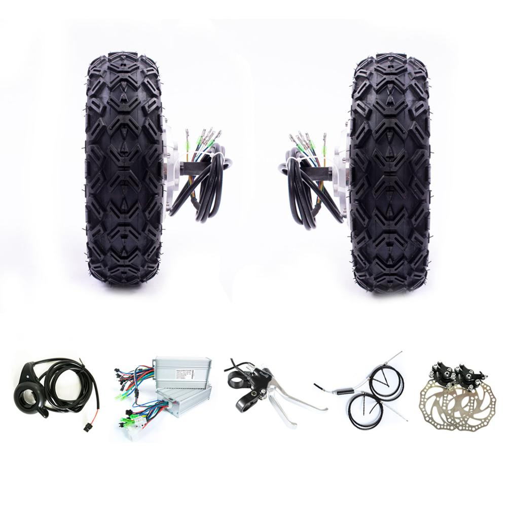 """10 inch  Tyres 24v 36v 350w 500w 800w 10"""" Buggy Robot Trolly Double Dual Drive Electric Motor Wheel Kit 10"""" Scooter DIY Kit