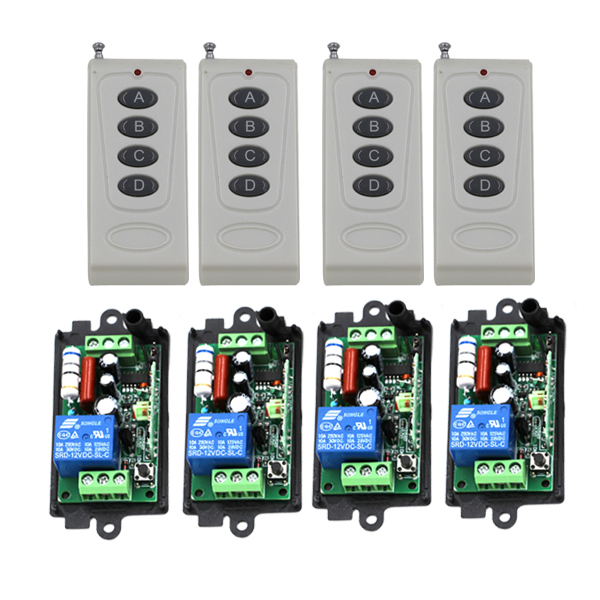 Brand New Practical AC110V 220V 10A 1CH 315MHz Wireless Remote Control Switch 4 Transmitter+4 Receiver Free Shipping SKU: 5388 brand new 4 2 01