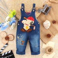 New Winter Children Baby Boys Girls Denim Jeans Kids Cartoon Cute Dog Pattern Strap Pants Bebes