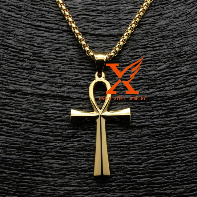 3D New Egyptian Ankh Jewelry Gold Silver Stainless Steel Ankh