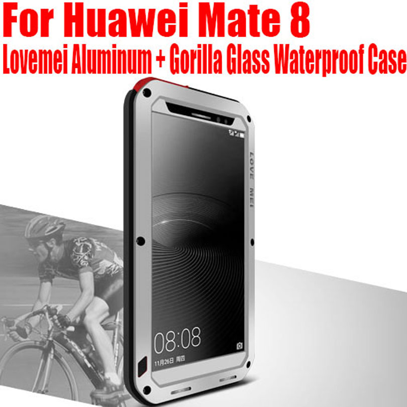 sale retailer c595d 43d6d US $129.76  5pc/lot case for Huawei Mate 8 Lovemei Aluminum Metal + Gorilla  Glass Shock Drop Waterproof Case NO: HM82 on Aliexpress.com   Alibaba ...