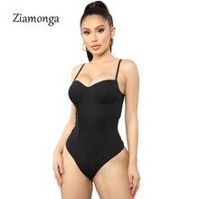 Ziamonga сексуальное боди Для женщин Бюстье без бретелек Топ облегающий цельный клубный комбинезон в обтяжку вечерние