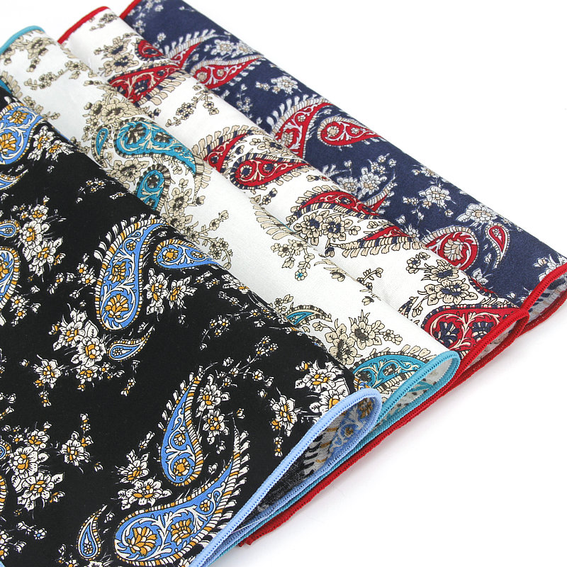 Men Cotton Paisley Colorful Pocket Square Handkerchief Wedding Hanky