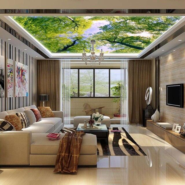 Beibehang Erweitern Die Raum Tapete Wandbild Wohnzimmer Decke Fresko  Esszimmer 3D Großes Wandbild Benutzerdefinierte Bambus