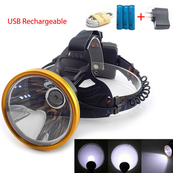 super bright frontal light LED headlamp head Miner's big size T6 hoofdlamp powerful Torches USB lamp flashlight fishing camping