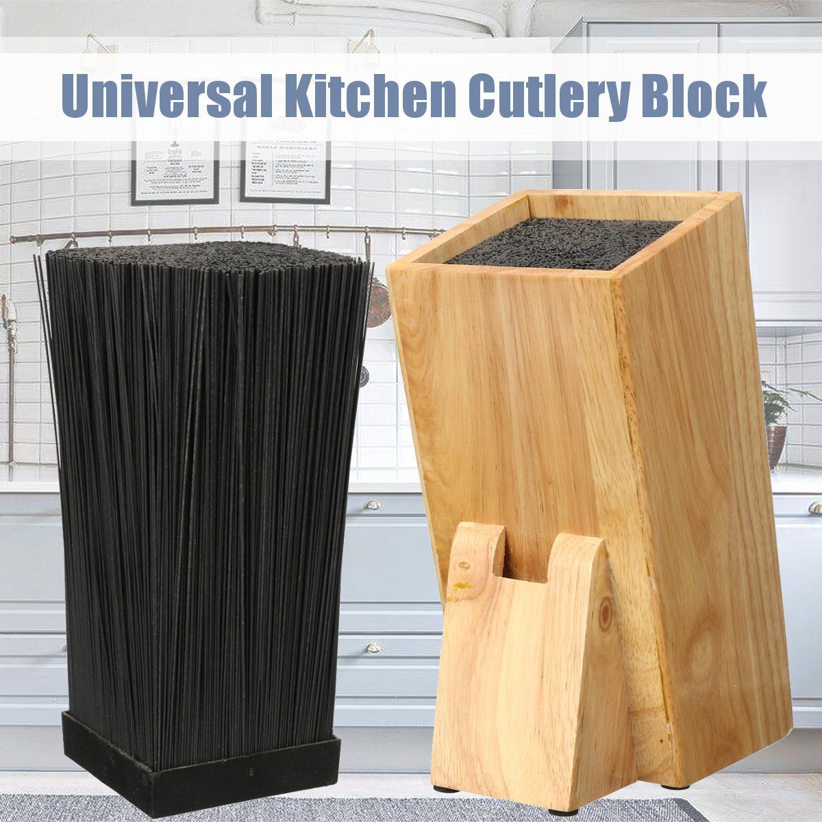 Organizer Block-Holder Scissors-Storage Kitchen-Accessories-Tools Cutlery Bamboo Knives