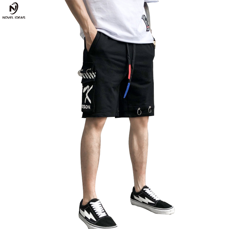Short Bending line 2018 summer women harajuku hip hop shorts punk streetwear hiphop short homme skateboard cargo shorts