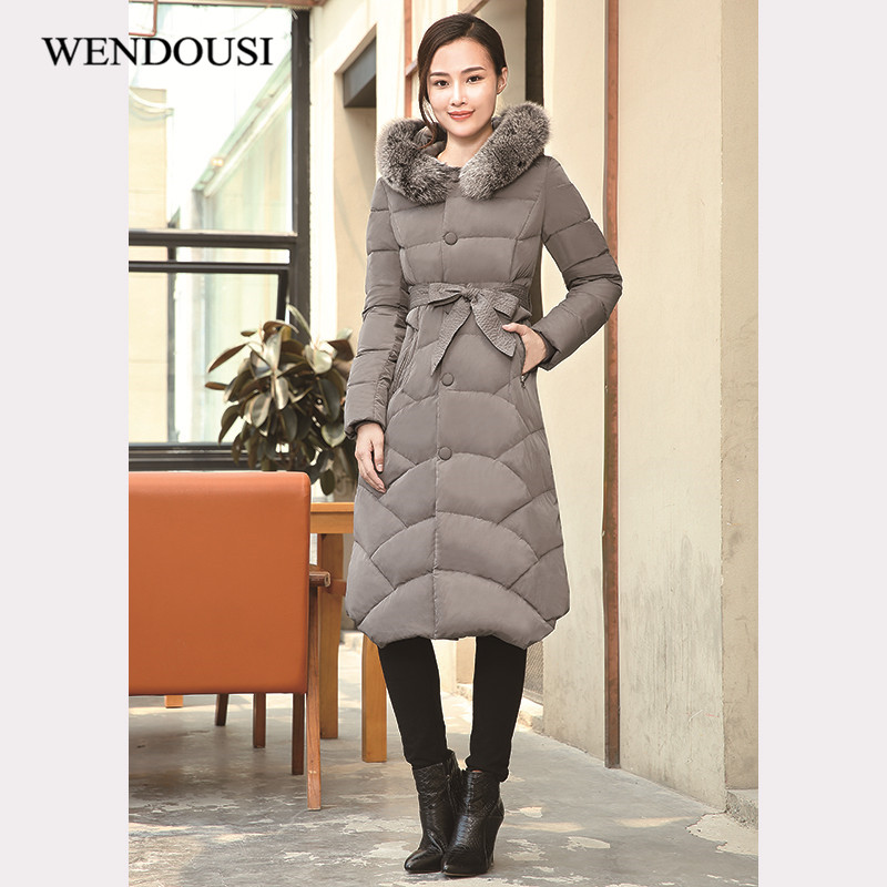 WENDOUSI Fashion Thickening Jackets Large Fur Collar Down Coat Women Long Winter New Woman Coats Down Female Outerwear XY599 new arrival hotsale 2015 fashion winter warm large fur collar down coat medium long demale thickening outerwear